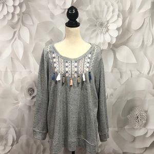 Avenue Gray Long Sleeve Tassels Shirt 18/20